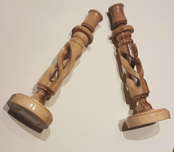 2 Olivewood Candle Sticks - Large *SPECIAL OFFER*