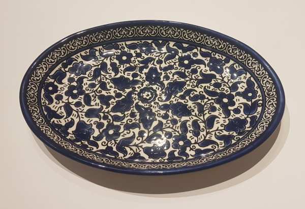 Decorated Oval Plate [Blue] (27cm)