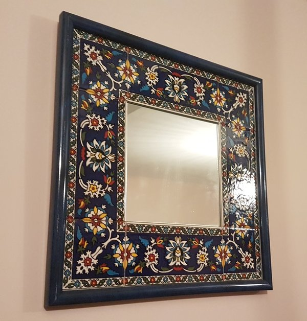 Square Decorated  Ceramic Mirror (32cm)